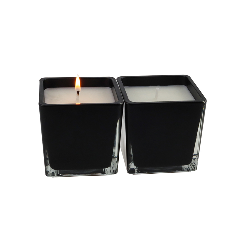 6*6cm UK Luxury black glass jar scented candles custom private label packaging box